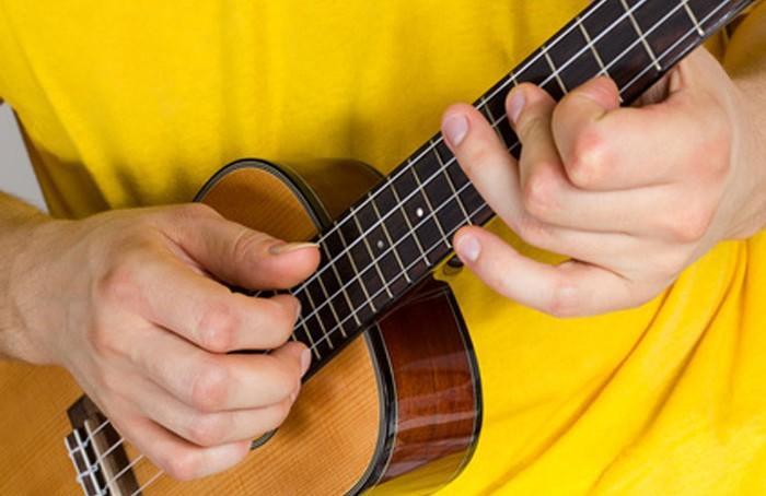 playing the ukulele - close-up